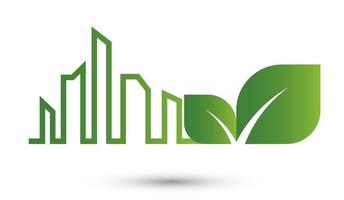 ecology city abstract concept green leaves vector