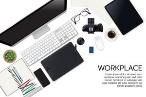 Realistic workspace elements workplace with elements on desk top view Modern Technology working Place plant keyboard cup of coffee  smartphone monitor writting item vector graphic