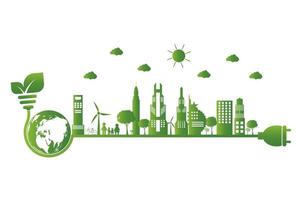 Earth symbol with green leaves around Ecology Green cities help the world with eco friendly concept ideas vector