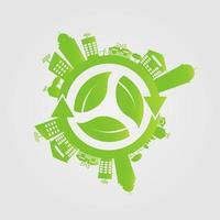 Ecology concept save world green Cities Helps the World With eco Friendly Concepts vector