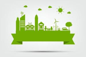 Ecology town concept and environment With Eco Friendly Ideas vector