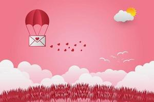 Valentine day balloons in a heart shaped flying over grass view background paper art style vector
