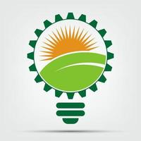 symbol ecology bulb logos of green with sun and leaves nature element icon on white background vector