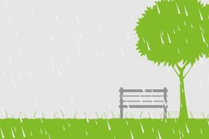 Chair and tree in the rain on green background vector