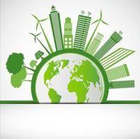 Ecology and Environmental Concept Earth Symbol With Green Leaves Around Cities Help The World With Eco Friendly Ideas vector