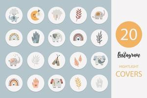 Instagram highlights cover icon set with bohemian elephants and items vector