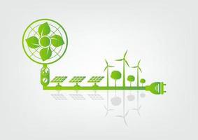 Ecology and Fan Concept Earth Symbol With Green Leaves Around Cities Help The World With Eco Friendly Ideas vector