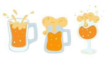 Set of various mugs with beer Glasses mugs with handle full of light beer with foam and bubbles Cold refreshing alcoholic drink Pint of golden beverage with froth Flat vector illustration