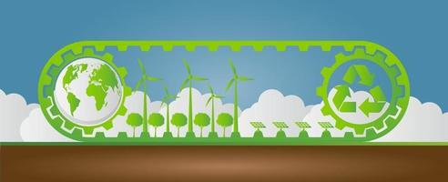 Ecology Saving Gear Concept And Environmental Sustainable Energy Development vector