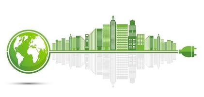 Ecology Green cities help the world with eco friendly concept ideas vector
