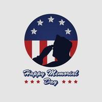 cartel conmemorativo del día conmemorativo y honor con la bandera de EE. UU. y la ilustración del ejército foto