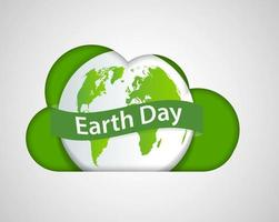 Cloud Ecology earth day concept and environment With Eco Friendly Ideas vector