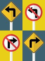 set traffic sign Do not turn left right turn ahead vector