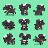 Cartoon character black maltese dog poses vector