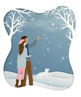 Romantic couple standing in winter season with snowflakes Illustration of love on paper art scene background vector
