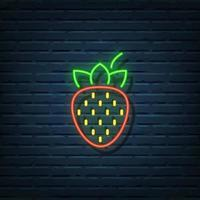 Strawberry Neon Sign vector