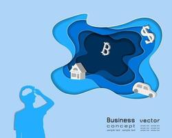 Business concept in depth layer background man thinking about money or cash vector