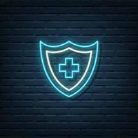 Medical Shield Neon Sign vector