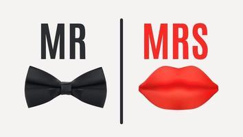 El señor y la señora firman con pajarita negra y labios rojos. vector