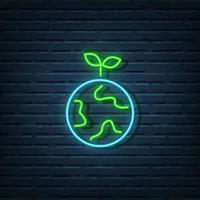 Ecology Earth Neon Sign vector