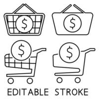 Shopping cart and shopping basket with dollar sign inside vector