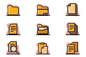 archivo, documento, conceptual, vector, ilustración, icono, diseño, conjunto vector