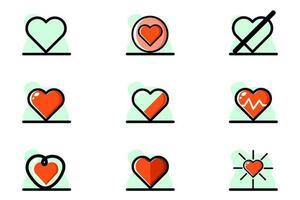 Heart Icon Set Illustration Design Conceptual Vector