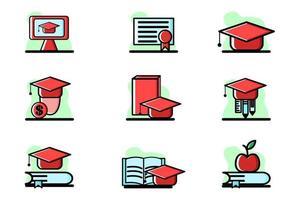 Education Vector Conceptual Illustration Design Icon Set