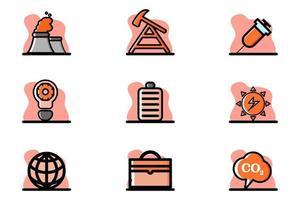 Conceptual Industry Vector Icon Set Illustration Design