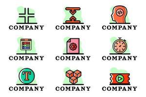Conceptual Vector Logo Company Business Illustration Design Set