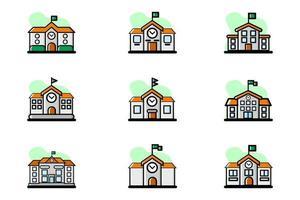 School Building Vector Illustration Design Icon Set