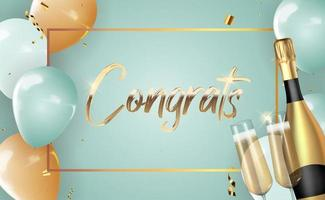 Realistic 3d congrats background with bottle of champagne and a glass for party vector