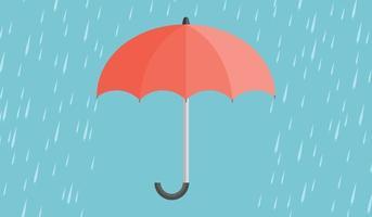 paraguas rojo con gotas de lluvia vector