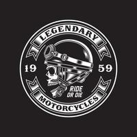 Vintage Biker Skull Emblem In Black And White vector