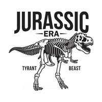 Tyrannosaurus Rex Skeleton On White vector