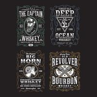 Vintage Whiskey Label TShirt Design Collection On Black vector