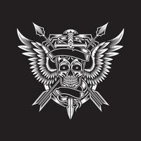cráneo alado con espada y flechas vector