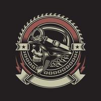 Vintage Biker Skull Emblem On Black vector