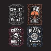 Vintage Whiskey Label Graphic Tshirt Collection vector