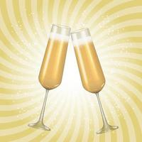 Realistic 3D champagne Golden Glass background vector
