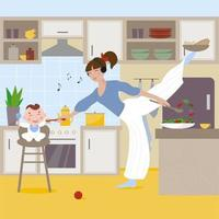 Busy mom enjoys music while feeding her baby and cooking at the same time vector