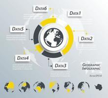 infografías geográficas mapa del mundo y del continente vector