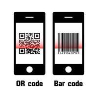 código qr de escaneo de teléfono inteligente y diseño plano de código de barras vector