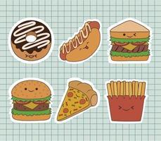 Etiqueta engomada de la comida rápida con diseño de vector de emoticonos