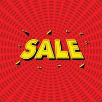 big sale banner text comic style in red background for promotion vector