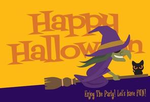 Cartoon halloween witch flying on broom with big lettering signboard vector
