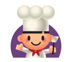 Cute chef character holding spatula vector