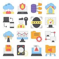 paquete de iconos planos de computadora y red vector