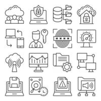paquete de iconos lineales de computadora y red vector
