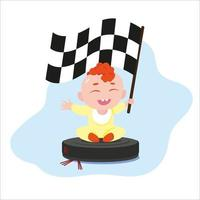 Baby boy riding on robot vacuum cleaner while it is working vector